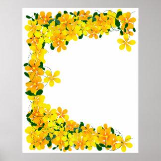 Flores de la frontera anaranjada y amarilla póster