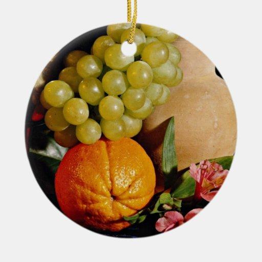Flores de la fruta, del cubilete y del jarro ornamento de navidad