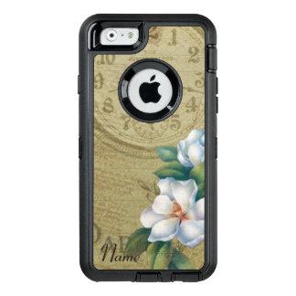 Flores de la magnolia del vintage funda OtterBox defender para iPhone 6
