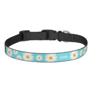 Flores de la margarita en el nombre del perro azul collar para mascotas