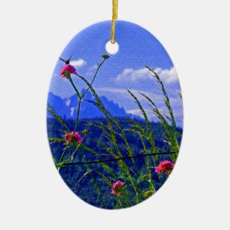 Flores de la montaña adorno navideño ovalado de cerámica