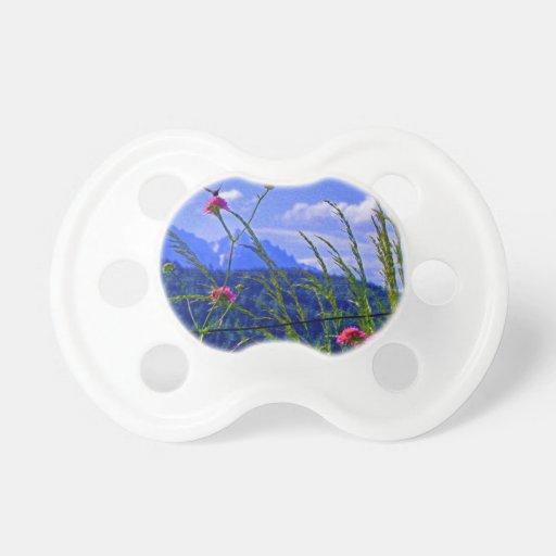 Flores de la montaña chupetes para bebes