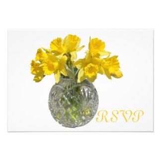 Flores de la primavera de Quinceanera RSVP Invitaciones Personales