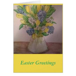 Flores de la primavera en una tarjeta de pascua