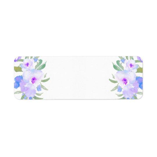 flores de la púrpura de la acuarela etiqueta de remite