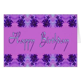 Flores de la púrpura del feliz cumpleaños tarjeta de felicitación