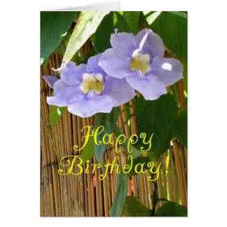 flores de la púrpura del feliz cumpleaños tarjeta
