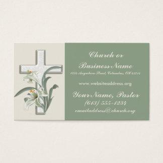 Flores de Lilly en el ministro cruzado tarjetas de