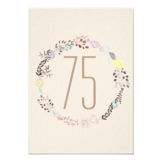 Flores de lujo y cumpleaños de los diamantes 75.o invitación 12,7 x 17,8 cm