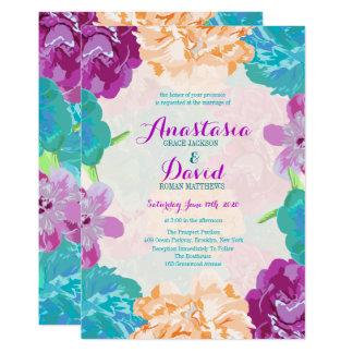 Flores de pavo real que casan la invitación