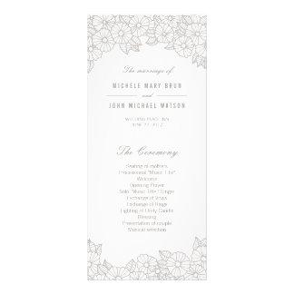 Flores de plata en las tarjetas blancas del lona personalizada