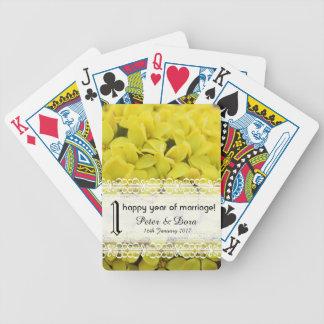 Flores de un del año amarillo del aniversario baraja de cartas bicycle