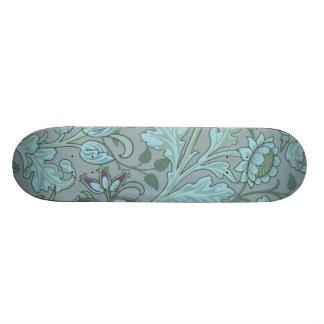Flores decorativas azules en colores pastel monopatín 18,4 cm