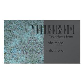 Flores decorativas azules en colores pastel tarjetas de visita