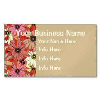 Flores decorativas del rosa y del amarillo tarjetas de visita magnéticas