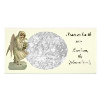 Flores del ángel del navidad del vintage, tarjeta