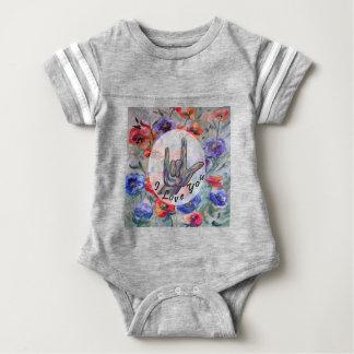 Flores del ASL y te amo Body Para Bebé