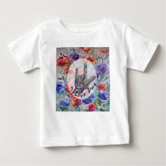Flores del ASL y te amo Camiseta De Bebé