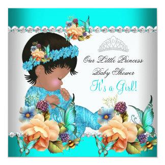 Flores del azul del trullo del chica de la invitación 13,3 cm x 13,3cm