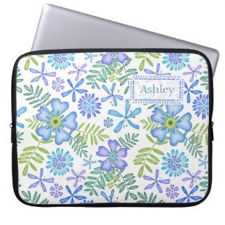 Flores del azul funda para portátil