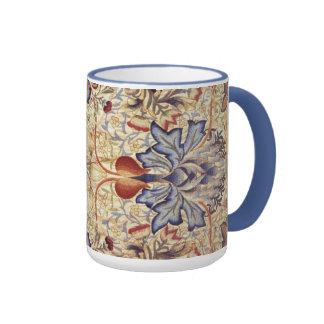 Flores del azul y del oro taza de dos colores