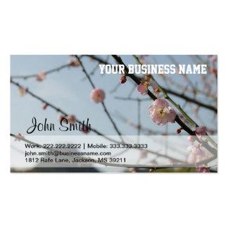 Flores del cerezo y tarjeta de visita de la montañ