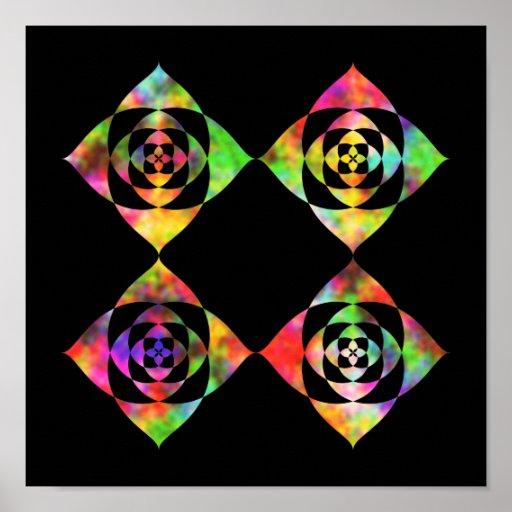 Flores del color del arco iris. En negro Impresiones