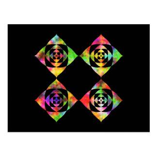 Flores del color del arco iris. En negro Tarjeta Postal
