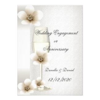 Flores del compromiso o del aniversario del boda invitación