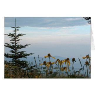 Flores del cono en montañas tarjeta de felicitación
