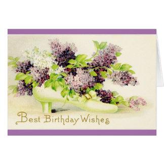 Flores del cumpleaños del vintage, con los sobres tarjeta de felicitación