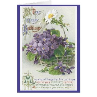 Flores del cumpleaños del vintage tarjeta de felicitación
