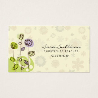 Flores del Doodle de la tarjeta de visita del