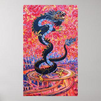 Flores del dragón sobre el poster de la ciudad