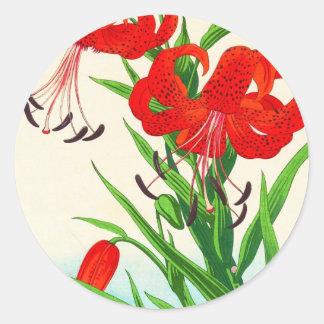 Flores del hanga de la espinilla de los lirios pegatina redonda