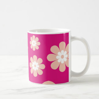 Flores del melocotón de la MOD en rosa Taza De Café