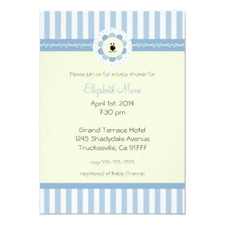 Flores del país y ducha azules del León-Bebé Invitación 12,7 X 17,8 Cm