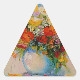 Flores del prado pegatina triangular