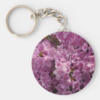 Flores del rododendro de Violett Llavero Redondo Tipo Chapa