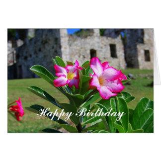 Flores del rosa de desierto del feliz cumpleaños tarjeta de felicitación