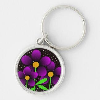 Flores del vector en púrpura llavero redondo plateado