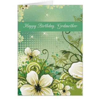 Flores del verde del cumpleaños de la madrina tarjetón
