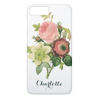 Flores del vintage, Clematis de los rosas de la Funda iPhone 7 Plus