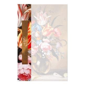 Flores del vintage en efectos de escritorio cones papelería