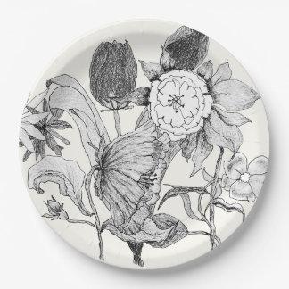 Flores dibujadas mano artística del ramo floral plato de papel
