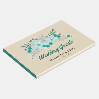Flores dibujadas mano del trullo, casandose libro de visitas