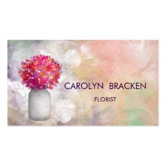 Flores elegantes hermosas del tarro de albañil de tarjeta de negocio