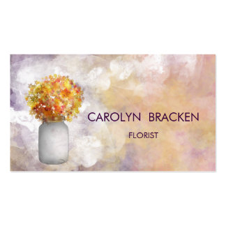 Flores elegantes hermosas del tarro de albañil de tarjetas de visita