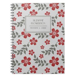 Flores elegantes y hojas grises rojas cuaderno