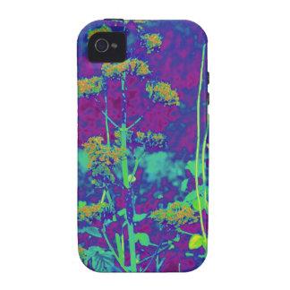 Flores en azul iPhone 4 carcasas